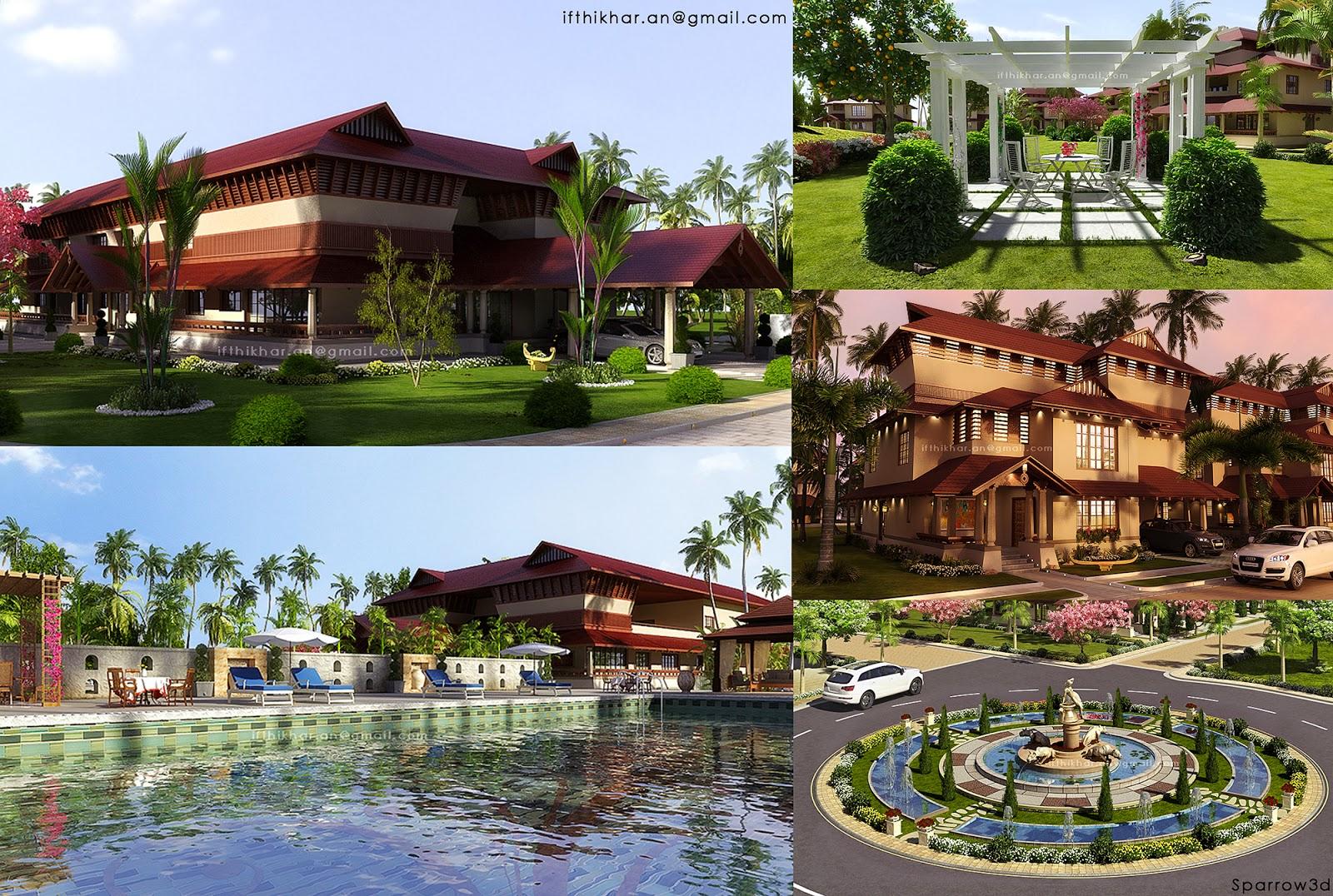 Luxury heritage style villas 3d vray exterior 2011 for Landscape villa design