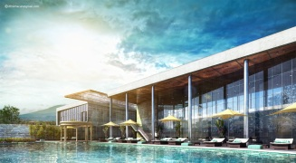 modern swimming pool vray exterior 3d render
