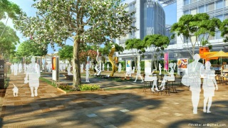 Outdoor Modern Art Gallery Design with walkways and Coffee booths.