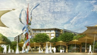 Plaza Design with Fountains and Canopies. created in 3dsmax and Vray