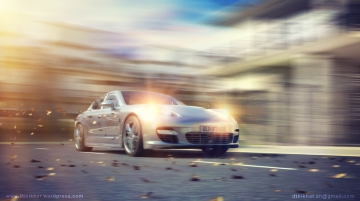 Car motion blur, camera panning in Vray