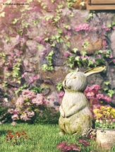 Garden elemnts detail: bunny - The FireFly Cottage - 3dsmax Vray - Case study, Cottage Architecture