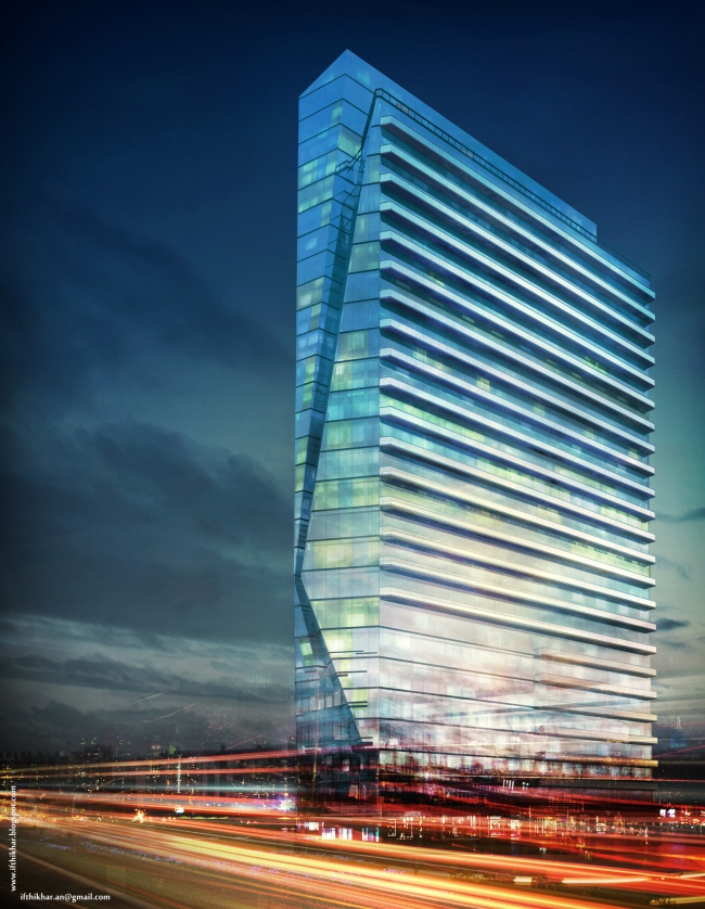 Glass Tower Vray night