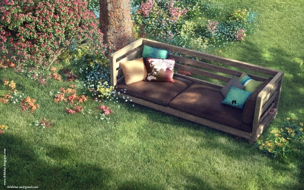 Garden Sitting - The FireFly Cottage - 3dsmax Vray - Garden sitting