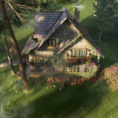 Birdeye angle: The FireFly Cottage - 3dsmax Vray - Case study, Cottage Architecture