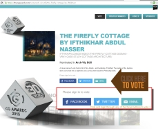 https://thecgawards.com/vote/arch-viz-still/the-firefly-cottage-by-ifthikhar/ Hearty thanks for all those who voted! Nominated for the best ‪#‎ArchViz‬ still in ‪#‎CgAwards 2015‬!! Now its your turn, kindly vote for me!! :) Few days left for voting! #3dsMax #Vray (The CG Awards is a celebration of the most amazing CG art and technology that has been created over the past year in the world of animation, VFX and computer hardware.)