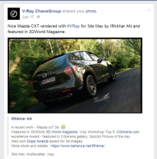 Featured in Vray FB page.